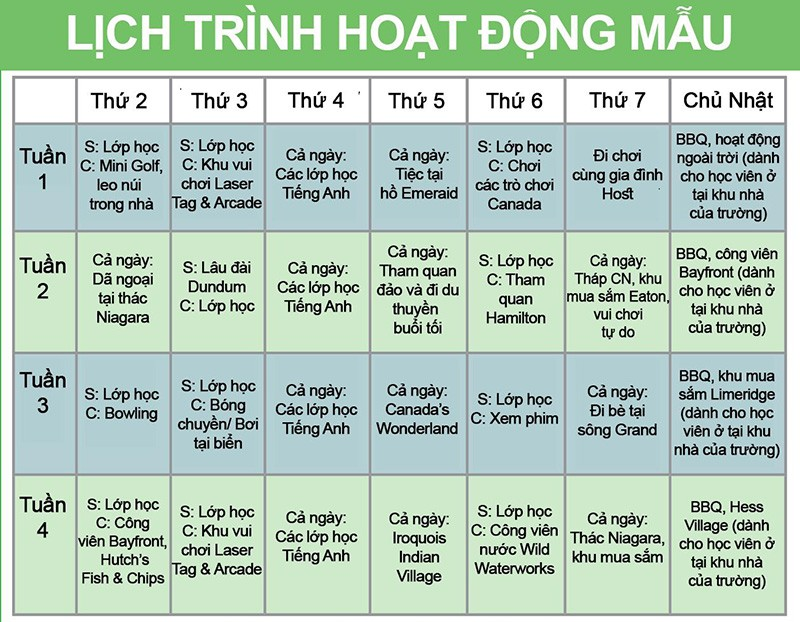 Trai he tieng Anh Canada - lichtrinh hoat dong mau