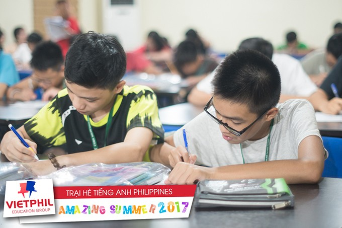 Giờ tự học buổi tối + Bài kiểm tra từ vựng hàng ngày tại Trại hè tiếng Anh Philippines