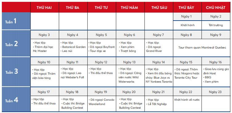 Lich trinh VietPhil Camp Canada 2020