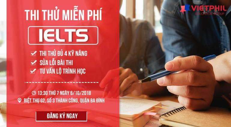 Thi thử IELTS miễn phí tháng 10/2018